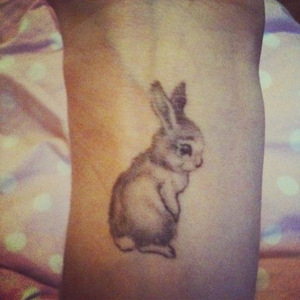 40 cute and small rabbit tattoo pictures tail and fur ForSmall Bunny Tattoo