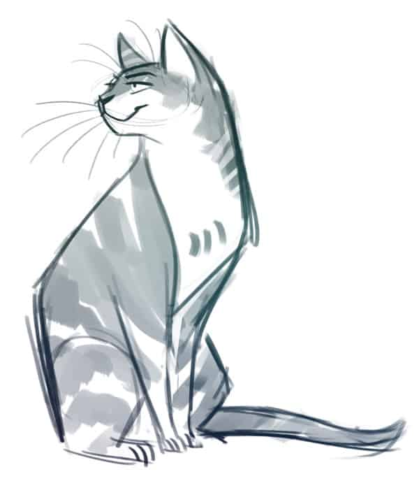 40 Great Examples of Cute and Majestic Cat Drawings 5