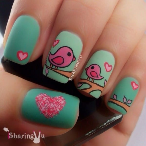 40 amusing and cute love birds nail art designs amusing and cute love birds nail art designs prinsesfo Choice Image