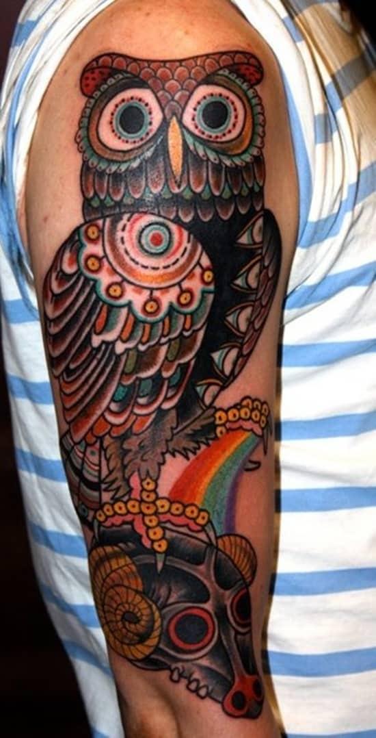 40 Cute Traditional Owl Tattoos (11)