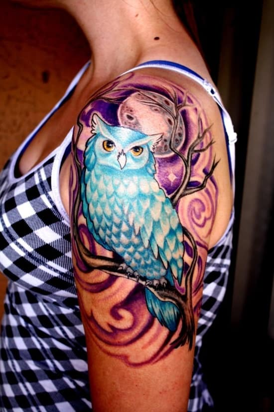 40 Cute Traditional Owl Tattoos (2)