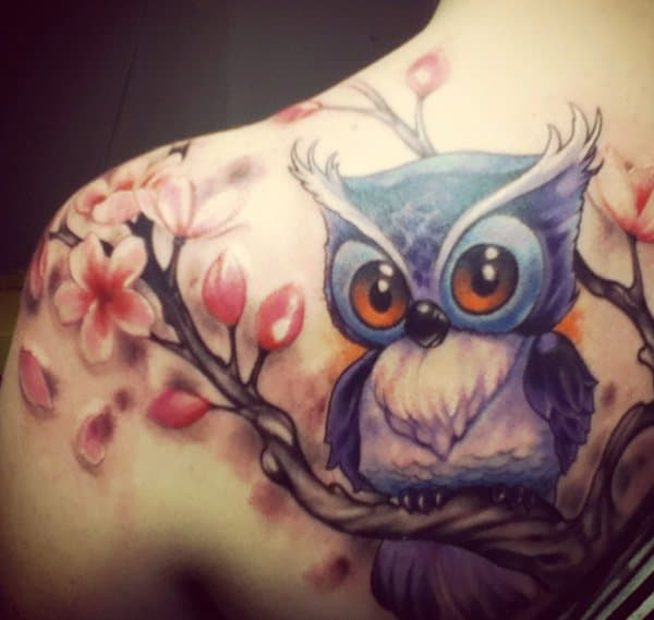 40 Cute Traditional Owl Tattoos (20)