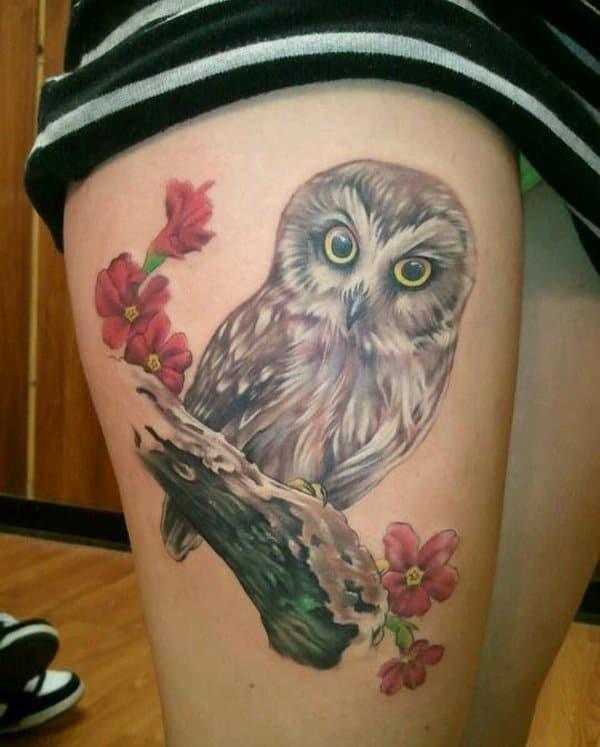 40 Cute Traditional Owl Tattoos (30)