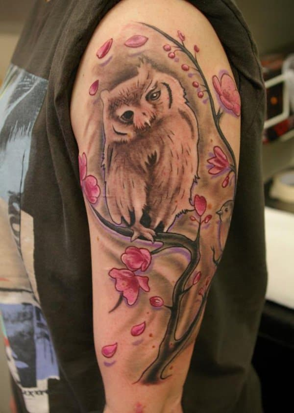 40 Cute Traditional Owl Tattoos (35)