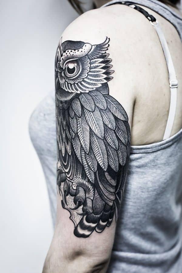 40 Cute Traditional Owl Tattoos (39)