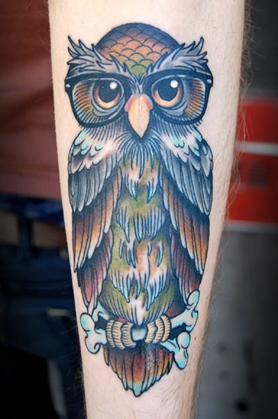 40 Cute Traditional Owl Tattoos (8)