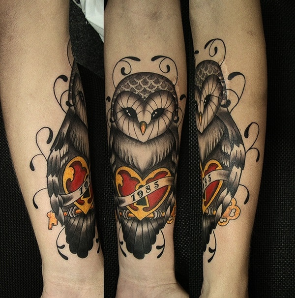 80 cute owl tattoo designs to ink. Black Bedroom Furniture Sets. Home Design Ideas