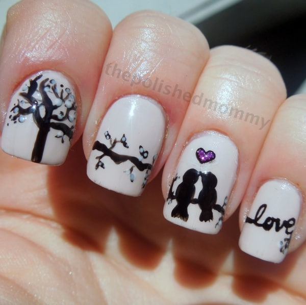 40 Amusing And Cute Love Birds Nail Art Designs