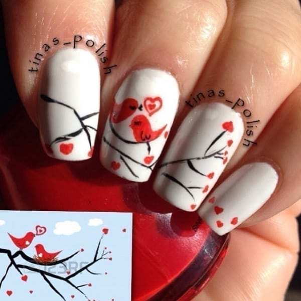 Amusing-And-Cute-Love-Birds-Nail-Art-Designs - 40 Amusing And Cute Love Birds Nail Art Designs